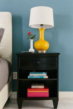 night stand + yellow lamp
