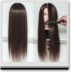 70% Real Hair Hairdressing Cutting Training Head Long Hair+ Free Clamp Uk
