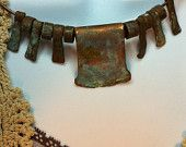 Ancient copper choker handmade necklace, one of a kind Primitive style, Boho, Rustic, Artifact, copper, gift wrapped