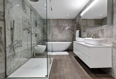 THIS sort of layout - note the stand-alone tub and the separate shower, although it'd be nice if the shower floor blended w/ the actual floor Bathroom Tile Designs, Modern Bathroom Design, Bathroom Layout, Bathroom Interior Design, Bathroom Ideas, Shower Designs, Shower Ideas, Tile Layout, Bathroom Photos