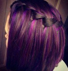 Purple highlights on brunette hair