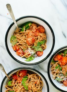 Amazing tomato pesto with basil and pasta, a light but filling summer meal - cookieandkate.com