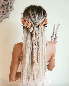 Dyed hair blond braid bohemian bridal style flowers fish tail