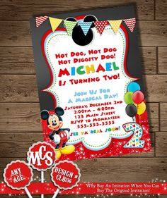 Printable mickey mouse birthday invitation 4x6 or 5x7 digital file mickey mouse invitation mickey invitation by mycelebrationshoppe stopboris Gallery