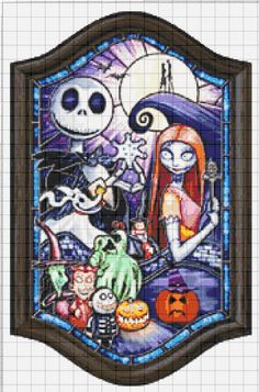 The Nightmare Before Christmas Jack and Sally Stained Glass Cross Stitch Pattern Disney Cross Stitch Patterns, Cross Stitch Charts, Cross Stitch Designs, Cross Stitching, Cross Stitch Embroidery, Embroidery Patterns, Pix Art, Jack And Sally, Christmas Cross
