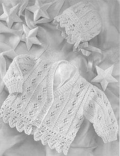 "Sweet Little Baby Jacket & Hat - Chunky Knitting Pattern - 16 -24"" Easy Beginner - 5th village"