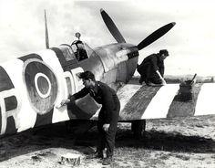 An RAF Supermarine Spitfire receives its D-Day invasion stripes; Tangmere Sussex England – 5 June 1944 An RAF Supermarine Spitfire receives its D-Day invasion stripes; Ww2 Aircraft, Fighter Aircraft, Military Aircraft, Fighter Jets, Luftwaffe, D Day Invasion, Aviation News, Aviation Art, Juno Beach