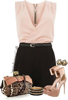 Shell Pink and Black 2 in 1 Diamante Playsuit