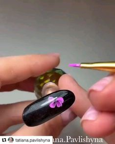 Tutorial on How to create a Beautiful Pink Purple Nail Flower - Credit Tatiana Bowe.pavlishyna New Custom nail decals are available. Email us your picture, logo, o - Flower Nail Designs, Colorful Nail Designs, Flower Nail Art, Cute Nail Designs, Nail Flowers, Rose Gold Nails, Purple Nails, Pink Purple, Nail Pink