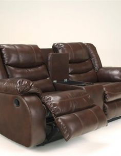 brown leather reclining sofa and loveseat