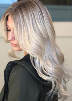 Lace Front Cap Wavy Women Synthetic Hair Fashion Long Light Gray Wigs - All For Hair Color Trending Blonde Braiding Hair, Blonde Ombre Hair, Balayage Blond, Blonde Hair Looks, Platinum Blonde Hair, Ombre Hair Color, Cool Blonde, Red Hair, Cream Blonde Hair