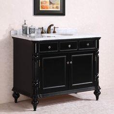 Abel Antique 47 inch Black Finish Bathroom Vanity White Marble Top