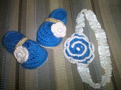 Zapatitos y venda a crochet