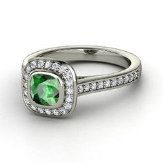 Cushion cut Emerald and White Gold halo engagement ring from Gemvara