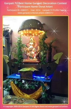 Donal Avlani Home Ganpati Picture View more pictures and videos of Ganpati Decoration at www. Arti Thali Decoration, Mandir Decoration, Ganpati Decoration Design, Ganapati Decoration, Diy Diwali Decorations, Wedding Stage Decorations, Festival Decorations, Flower Decorations, Ganpati Picture