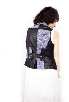 alisaburke: leather and lace- doodled vest (oil-based Sharpie) -- fun for MK