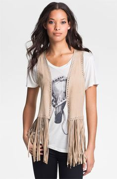 Haute Hippie Fringe Trim Suede Vest | Nordstrom Country Outfits, Western Outfits, Western Wear, Vest Outfits For Women, Clothes For Women, Fringe Vest, Fringe Trim, Cowgirl Dresses, Designs For Dresses