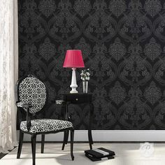 MASTER BEDROOM!  Victorian Design with Flowers - Damask Wall Stencils for Elegant DIY Home Decor