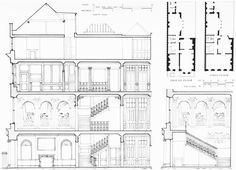 Figure 39: No. 44 Grosvenor Square (demolished), section and plans in 1967, and part section showing a conjectural reconstruction of the original staircase compartment. Grosvenor Square: Individual Houses built before 1926 | British History Online
