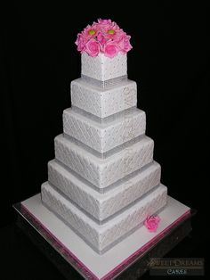 Square bling wedding cake. — Square Wedding Cakes