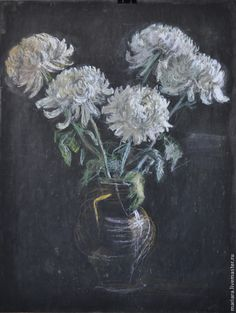 Купить Картина пастелью Белые хризантемы в кувшине - белый, хризантема, натюрморт с цветами, картина в подарок