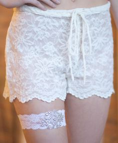 great white lace shorts for the honeymoon, getting ready or  lingerie boudoir shots!