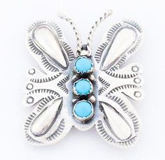 Navajo Turquoise Sterling Silver Butterfly Pin Pendant Handmade