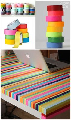 Make a Rainbow Table - Create. - Isi T. - Make a Rainbow Table - Create. You can easily make a colorful table using washi tape. Here are some fun ideas to get you inspired to update your playroom or office. Decoration Bedroom, Diy Wall Decor, Diy Home Decor, Decor Crafts, Room Decor, Washi Tape Wallpaper, Wallpaper Art, Tape Crafts, Diy And Crafts