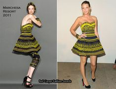 Marchesa Resort 2011 yellow and sapphire fully beaded tribal strapless mini dress