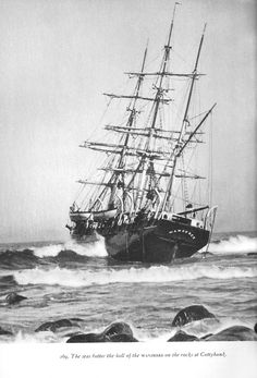 Bark Wanderer of New Bedford ran aground on the rocks off Cuttyhunk in 1924. This was the last wooden ship to set sail on a whaling voyage, which ended rather spectacularly with this storm not even two days into the cruise. Scan from Albert Cook Church's Whale Ships and Whaling.