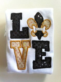 LOVE New Orleans Saints Football Inspired by ShopChasingBubbles