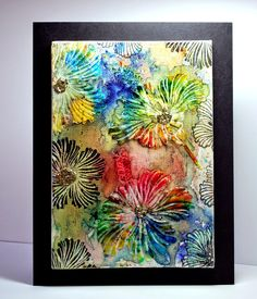 Eileen's Crafty Zone: Brusho Paints and Designs by Ryn. New Stamps and Stencils on a Canvas