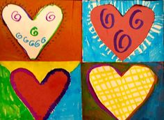 pop art hearts by my student Sarah, grade 1 (Donna Staten)