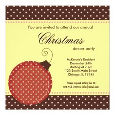 Shop Dots Christmas dinner Invitation created by graphicdesign. Personalize it with photos & text or purchase as is! Cocktail Party Invitation, Dinner Party Invitations, Christmas Gift Exchange, Christmas Holidays, Holiday Parties, Holiday Ideas, Christmas Dinner Invitation, Cookie Exchange Party, Homemade Christmas