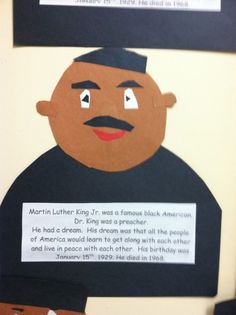 Today we made our Martin Luther King models. They are so hard, but also so much fun. I show the kids a finished model and then quickly free cut from construction paper to show them how to make th… Famous Black Americans, Social Studies Resources, King Jr, Martin Luther King, Classroom Ideas, January, Activities, Learning, School