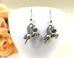 Silver Pegasus Earrings Winged Horse Earrings by BeadSparkleZ