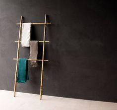 Handtuchhalter-Bambus-Bambusleiter-Leiter-Handtuchstange-Holz-Dekoleiter