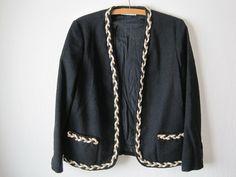 vintage women's collarless jacket, black with braided trim. $48.00, via Etsy.