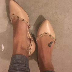 Studded nude flats Valentino inspired, but not replicas! Gorgeous shoes just too small for me Shoes Flats & Loafers