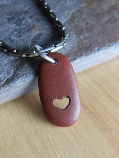I Heart You Genuine Beach Stone Jewelry by SeaFindDesigns