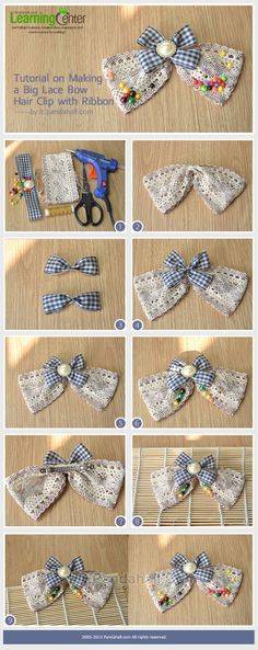 Tutorial on Making a Big Lace Bow Hair Clip with Ribbon