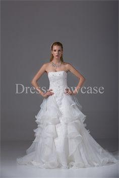 A-Line Court Train Strapless Satin Wedding Dress