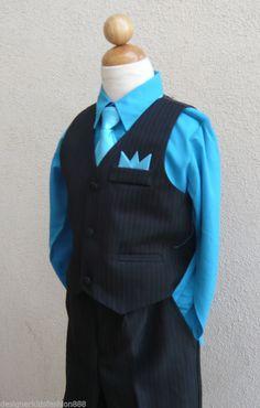 BLACK TURQUOISE BLUE TODDLER BOYS SET VEST WITH LONG TIE TUXEDO FORMAL SUIT SET