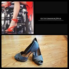 """BCBG MAX AZRIA Pumps Sexy platform heels, will dress up any outfit. Beautiful textured grey with metallic trim. Versatile and comfy!  CONDITION  perfect, worn several times for an outdoor photo shoot, hence the markings on soles, otherwise, no signs of wear SIZE  8 HEEL HEIGHT 3/4"""" platform, 3.5"""" heels  Feel free to ask questions. BCBGMaxAzria Shoes Heels"""