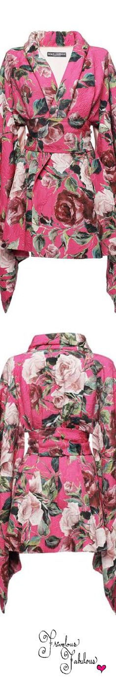 Frivolous Fabulous - Dolce & Gabbana Hot Pink Floral Brocade Kimono Dress Coat Spring Summer 2016