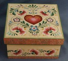 Carnation Keepsake Box by Deanne Fortnam Tole Decorative Paintings, Tole Painting Patterns, One Stroke Painting, Love Painting, Painted Boxes, Hand Painted, Barn Quilt Patterns, Wood Patterns, Norwegian Rosemaling