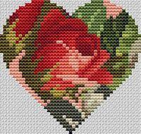 Rose Heart Free Cross Stitch Pattern Chart