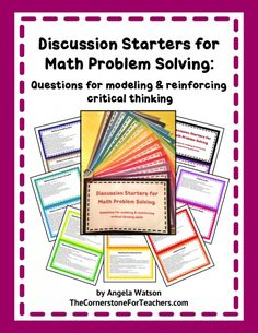 Discussion Starters for Math Problem Solving: Discussion Starters for Math Problem Solving: 14 printable cards with question stems and prompts you can ask during problem solving activities to promote critical thinking skills. (priced item)