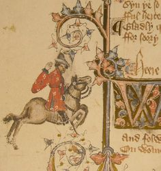 The Merchant in the Ellesmere manuscript of The Canterbury Tales, c. 1410.