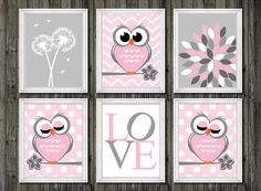 Owl nursery decor baby girls owl nursery wall by customedgestudio